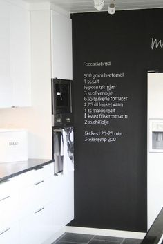 Recipe on the wall