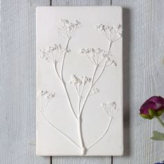 Cow Parsley Large Plaster Cast Tile Framed / Unframed by Fiona Gray Designs, the perfect gift for Explore more unique gifts in our curated marketplace. Plaster Crafts, Plaster Art, Clay Crafts, Simple Flowers, Real Flowers, Skyline Painting, Plaster Of Paris, Cow Parsley, Air Dry Clay