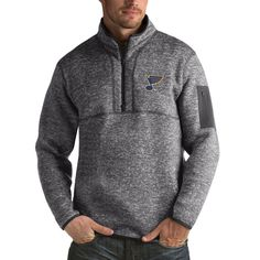 St. Louis Blues Antigua Fortune 1/2-Zip Pullover Jacket - Charcoal