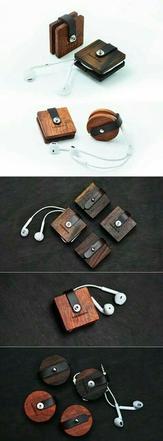 Wooden Headphone Wrap Winder Cable Cord Organizer More gadgets Wooden Crafts, Wooden Diy, Diy And Crafts, Handmade Wooden, Headphone Wrap, Headphone Holder, Ring Tutorial, Cord Organization, Wood Projects