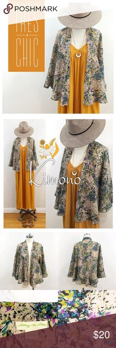 •Staring @ Stars• floral print kimono cape Beautiful kimono with abstract print.  Beautiful colors reminiscent of a peacock; teal, turquoise, yellow, purple with a beige base.  Fabric is crinkly so it a perfect travel item that you won't need to iron!!! There are no arm holes, just a seam in the side where your arm fits into.  Easily pairs with any color.  Wear over your maxi or with some distressed shorts.  100% polyester.  Wash cold, gentle cycle. Staring at Stars Jackets & Coats Capes