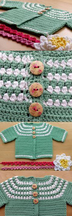 Cluster Yoke Baby Cardigan - a free pattern from Ravelry ༺✿Teresa Restegui http://www.pinterest.com/teretegui/✿༻