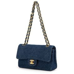 Chanel Vintage Denim Classic Flap Bag ($6,589) ❤ liked on Polyvore featuring bags, handbags, shoulder bags, white shoulder bag, chanel handbags, chain shoulder bag, denim shoulder bag and chain strap purse