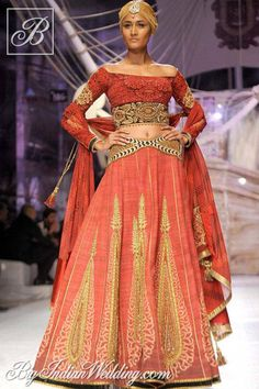 JJ Valaya designer lehenga with off-shoulder top, bridal couture, rust colored lehenga for a south asian bride 2013