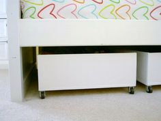 Underbed toy storage for kids rooms (DIY of plywood and casters!)