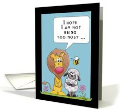 Happy Birthday-Lion and Lamb-Being Nosy card