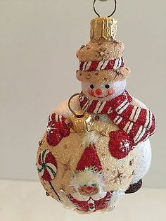 PATRICIA BREEN ORNAMENT UNDERCONSTRUCTION GINGERBREAD BEJEWELED snowman