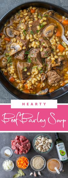 A hearty beef barley soup is the perfect recipe for fall and winter. This soup is comforting and filling, perfect for any day. This soup is filled with nutritious and good for you ingredients and it's made in one-pot. Beef barley soup is like the soup grandma would make, filling, healthy yet super yummy. #beefbarleysoup #healthysoup #heartysoup