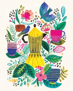 Meet the charming pattern designs of illustrator Rosie Harbottle. Coffee Illustration, Type Illustration, Floral Illustrations, Flower Tea, Cool Posters, Photo Art, Art Drawings, Art Pieces, Images