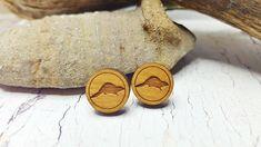 Wooden Beaver Stud Earrings  Biology Student Gift 5th