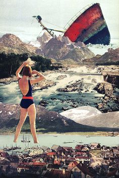 """Eugenia Loli's vibrant vintage collages. """"The Wreck"""" (Thx PKW) Surrealist Collage, Art Du Collage, Collage Artists, Mixed Media Collage, Digital Collage, Collages, Photomontage, Photoshop, Arte Banksy"""