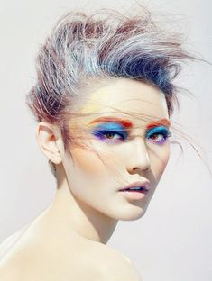 Inject some color into your life with rainbow bright make up because why not? women beauty and make up Makeup Art, Beauty Makeup, Eye Makeup, Hair Makeup, Hair Beauty, Runway Makeup, Rock Makeup, Candy Makeup, Makeup Style