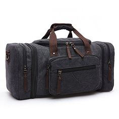 b487f9424f Toupons 208 Large Canvas Travel Tote Luggage Mens Weekender Duffle Bag  Black     Continue to the product at the image link.