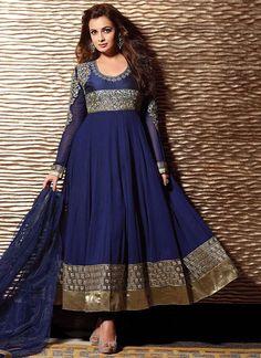 Dia Mirza wearing a navy blue anarkali with gold embroidery. Designer Salwar Kameez, Designer Anarkali, Anarkali Gown, Anarkali Suits, Beautiful Suit, Beautiful Dresses, Indian Dresses, Indian Outfits, Indian Clothes