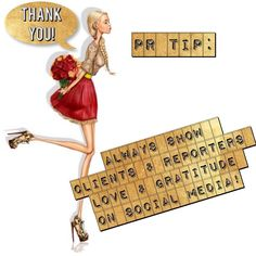 Always show #clients and #reporters #love and #gratitude on #social #media. They work hard and are a key factor of our very careers so nurture those connections and show your appreciation both personally AND publically via your social channels!  #WinWin #ThankYou #Tuesday #Tips #TuesdayTip #TipTuesday #PRTip #PR101 #PR #RhonnaDesigns #NRPRgroup