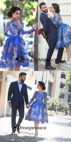 2016 prom dresses, short prom dresses, blue long sleeves prom dresses, homecoming dresses, party dresses