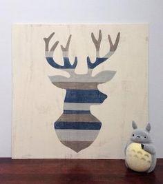 Large Hand Painted Deer Silhouette, Woodland Nursery Art, Rustic Nursery Decor, Wood Wall Art, Deer Head Art, Baby Boy Nursery, Buck Head by osa