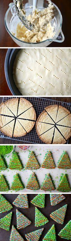 Christmas Tree Shortbread Cookies #recipe