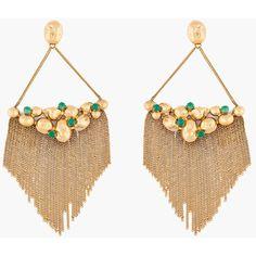 AURELIE BIDERMANN Green Glass Cité D'Or Fringe Earrings ($930) ❤ liked on Polyvore