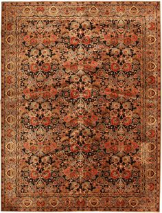"""Antique Axminster Rugs 2442, they say mauve and blue, do you see it that way? 8'11"""" x 11'11"""""""