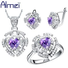 Find More Jewelry Sets Information about Almei 2016 Purple Jewelry Set Crystal Faux Bijoux Wedding Bridals Jewellery Sets for Women Colares e Brincos Heart Pendant T053,High Quality jewelry box wedding gift,China jewelry cake Suppliers, Cheap gifts find from Almei Jewelry Store on Aliexpress.com