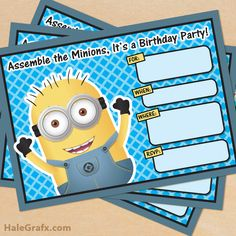 FREE Printable Despicable Me Minion Birthday Invitation