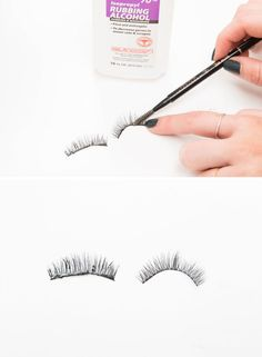 7. Clean makeup and glue residue off of false lashes with a spoolie brush and rubbing alcohol. Gently run the spoolie through the falsies to pull the old glue away without ruining the shape of them. This way you don't have to buy new ones.