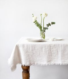 White Stone Washed Linen Tablecloth With Fringes