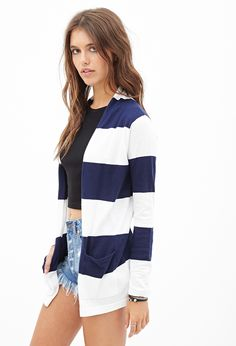 Rugby Striped Cardigan   FOREVER21 - 2000124255
