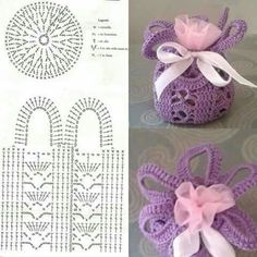 Crochet Basket For Souvenirs And Decoration >> free graph/patternAccesories Archives - Beautiful Crochet Patterns and Knitting Patterns- Diversamente Crochet By MaryRose Crochet Sachet, Free Crochet Bag, Crochet Motifs, Crochet Chart, Crochet Gifts, Crochet Doilies, Beau Crochet, Love Crochet, Beautiful Crochet