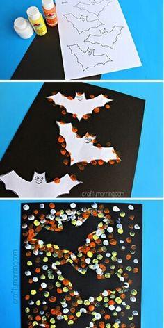 Fingerprint Bat Silhouette Craft # Halloween Crafts for Kids! Free printable … - Crafts for Kids Kids Crafts, Daycare Crafts, Classroom Crafts, Craft Kids, Preschool Halloween Crafts, Halloween Crafts For Kids To Make, Halloween Preschool Activities, Halloween Art Projects, Halloween Crafts For Toddlers