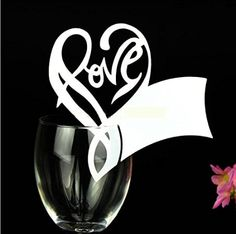 Worldoor® 50 White Gorgeous Love Letter Heart Laser Cut Wedding Table Name Place…