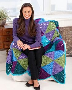 Even if you hated geometry in school, you are going to love this Vibrant Granny Triangle Throw. Who says that grannies have to square? With this free crochet afghan pattern, you will create granny triangles to create this colorful crochet throw.