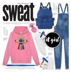 """""""stop sweatin me."""" by mercimasada ❤ liked on Polyvore featuring Superdry, BUSCEMI, Gucci, Stila, denim, CasualChic, overalls, hoodie, Hoodies and casual"""