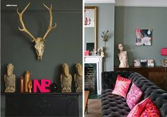 hot-pink-accents, stag heads, neon letters, bust, colorful cushions
