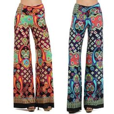 Popular Women's Multi Colored geometric print Wide Palazzo Pants Leggings S M L