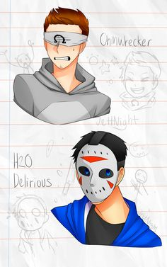 "jettnight: ""  while me and lucas were hangout both of us just talk about each other favourite youtubers.. so i like Ohm and Lucas like Delirious.. in my head just decided to draw both of them and messing with the colour (i guess) H2O Delirious and..."