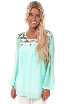 Lime Lush Boutique - Mint Chiffon Long Sleeve Blouse with Sequin Detail, $34.99 (http://www.limelush.com/mint-chiffon-long-sleeve-blouse-with-sequin-detail/)