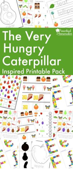 Your kids will LOVE the Very Hungry Caterpillar printable pack to go along with one of their favorite stories! Great for homeschooling or just for fun learning time. Very Hungry Caterpillar Printables, Hungry Caterpillar Food, Hungry Caterpillar Craft, Hands On Activities, Preschool Activities, Preschool Printables, Spring Activities, Preschool Learning, Learning Time