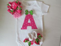 Baby GIrl's Monogrammed Clothing, Newborn going home set