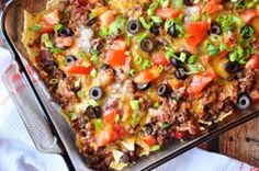 I think this casserole tastes even better than a real taco, it is SO DELICIOUS! ...if you love tacos, then you will love this casserole! My recipe#76616 works great for this recipe. ALL ingredients can be adjusted to suit taste. It is best to prepare this casserole and bake right away as the broken tacos will get too soggy.