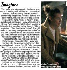 I would totally be that girl telling Harry's future girlfriend that I hope she gets better. Unless I'm Harry's girlfriend then I'm off to the bathroom