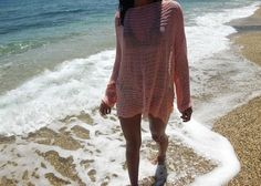 Women sweater / Summer cotton sweater/ Peach Coral Sweater /  Beach Cover up / Coachella festival sweater