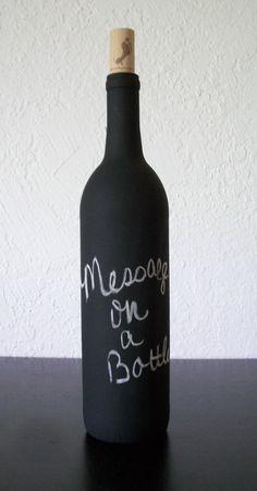 Message on a Bottle Chalkboard Painted Glass Bottle Note Board