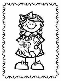 Love the Earth - Earth Day coloring page for kids, coloring pages printables free - Wuppsy.com