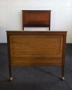 Antique-vintage-carved-mahogany-Queen-size-large-single-bed