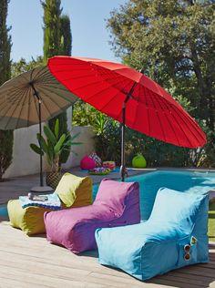 Beach Furniture, Garden Furniture, Outdoor Furniture, Outdoor Decor, Pouf Bleu, Porches, Parasols, Umbrellas, Cafe House