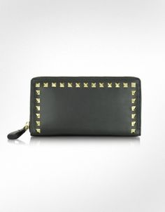 Valentino Garavani Rockstud Black Leather Zip Around Wallet