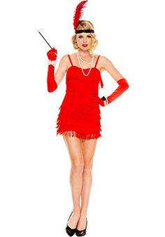 cool MUSIC LEGS Women's 1920's Flapper, Red, Small/Medium  1902's flapper 4 piece stretch flapper fringe dress with heaDPiece, cigarette holder and gloves Product Features  Sequin headpiece Feather detail  ... http://imazon.appmyxer.com/music/music-legs-womens-1920s-flapper-red-smallmedium/