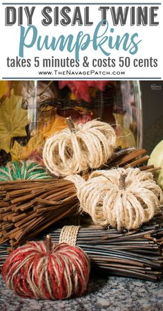 DIY Sisal Twine Pumpkins - A 5 Minute Craft These adorable DIY Pumpkins are made from inexpensive sisal twine that you can usually find at the Dollar Store. Each twine pumpkin takes less than 5 minutes to make and costs less than 50 cents! Dollar Store Crafts, Dollar Stores, Diy Décoration, Easy Diy, Sell Diy, Simple Diy, Diy Pour Enfants, Sisal Twine, Twine Crafts